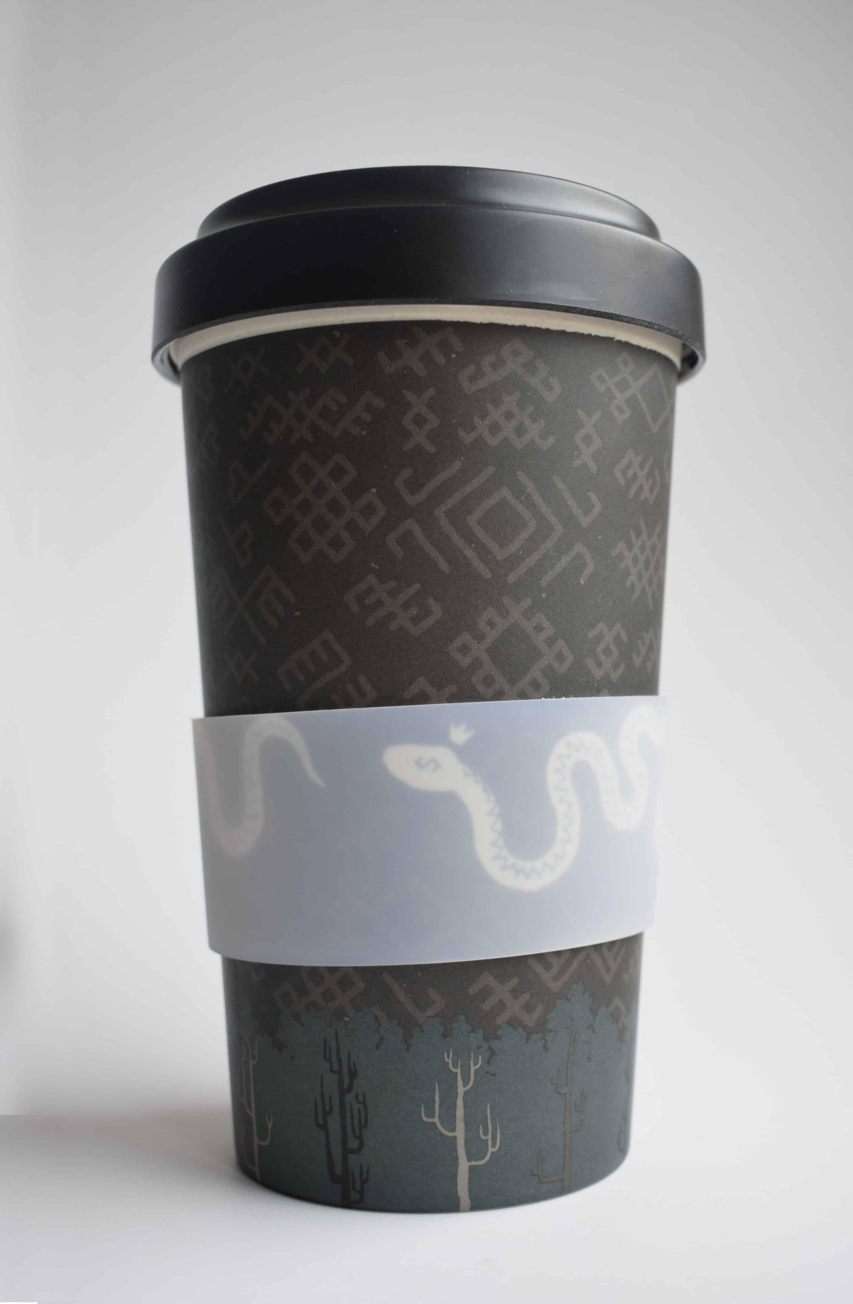 Bambuko puodelis išsinešti su tautiniais motyvais (juodas)
