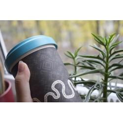 Bambuko puodelis išsinešti su tautiniais motyvais (indigo mėlynas)