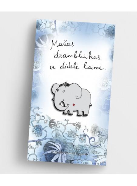 MZ13. Metalinis ženkliukas Mažas drambliukas ir didelė laimė