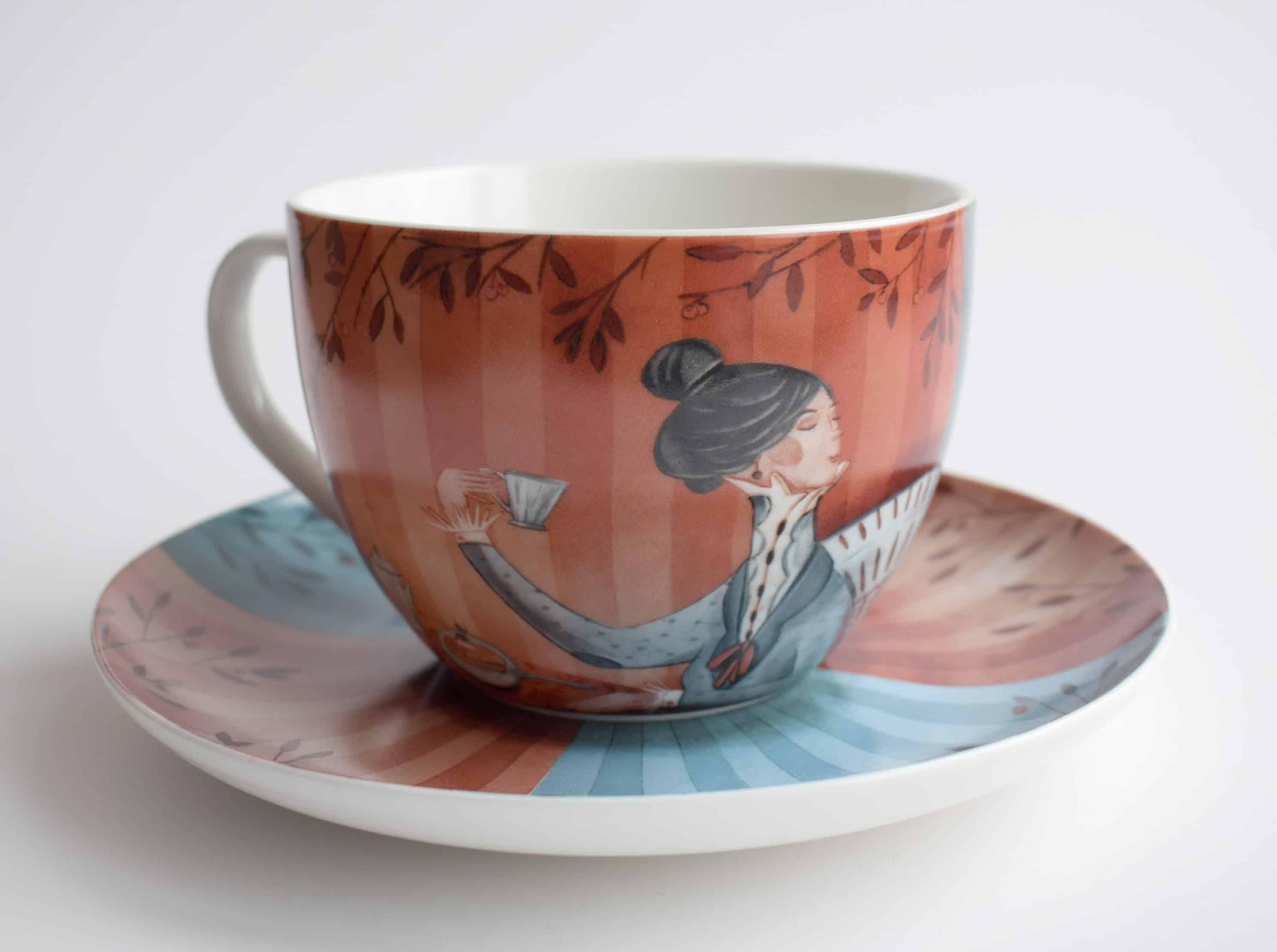 Kapučino kavos puodelis Ponų pasimatymas