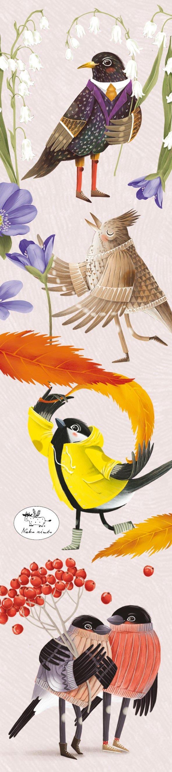 Skirtukas knygai su paukštukais