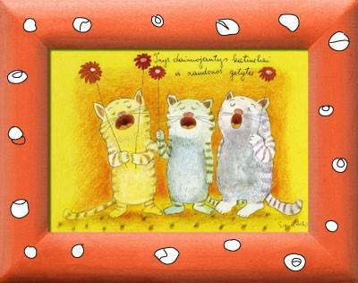 Reprodukcija. Trys dainuojantys katinėliai