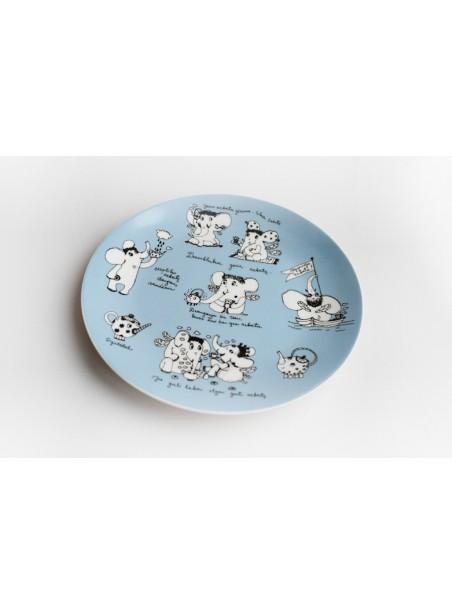 """Porcelianinė lėkštelė desertams """"Drambliukai geria arbatą..."""""""