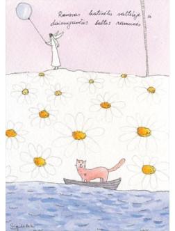 Rausvas katinėlis valtelėje ir dainuojančios baltos ramunės