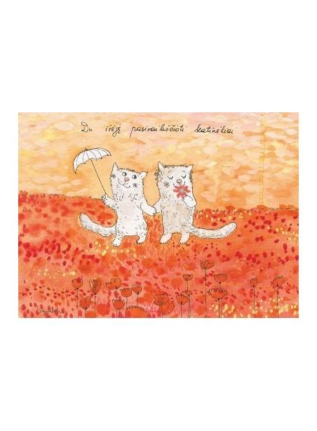 Du išėję pasivaikščioti katinėliai