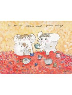 Du drambliai pačiame arbatos gėrimo viduryje