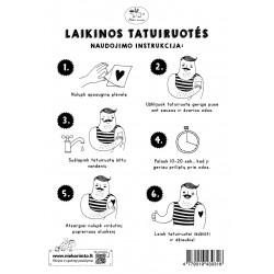 T9. Laikinos tatuiruotės su Tanios Rex piešiniais