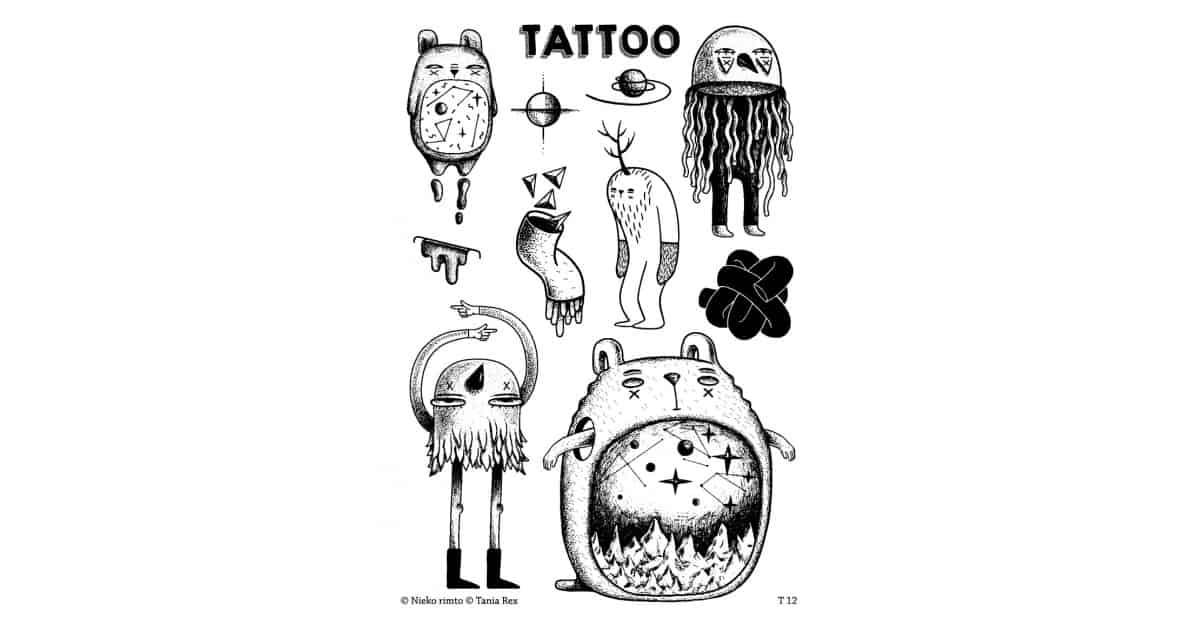 T12. Laikinos tatuiruotės su Tanios Rex piešiniais