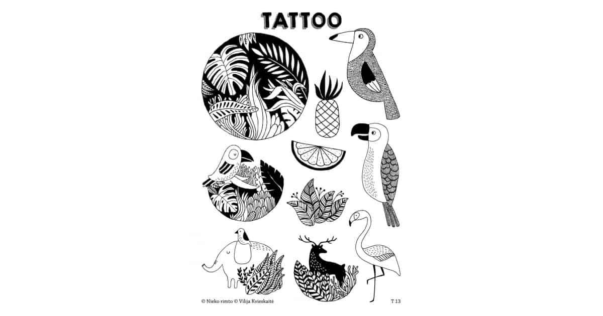 T13. Laikinos tatuiruotės su Vilijos Kvieskaitės piešiniais