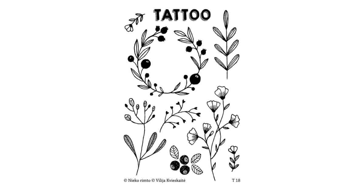 T18. Laikinos tatuiruotės su Vilijos Kvieskaitės piešiniais