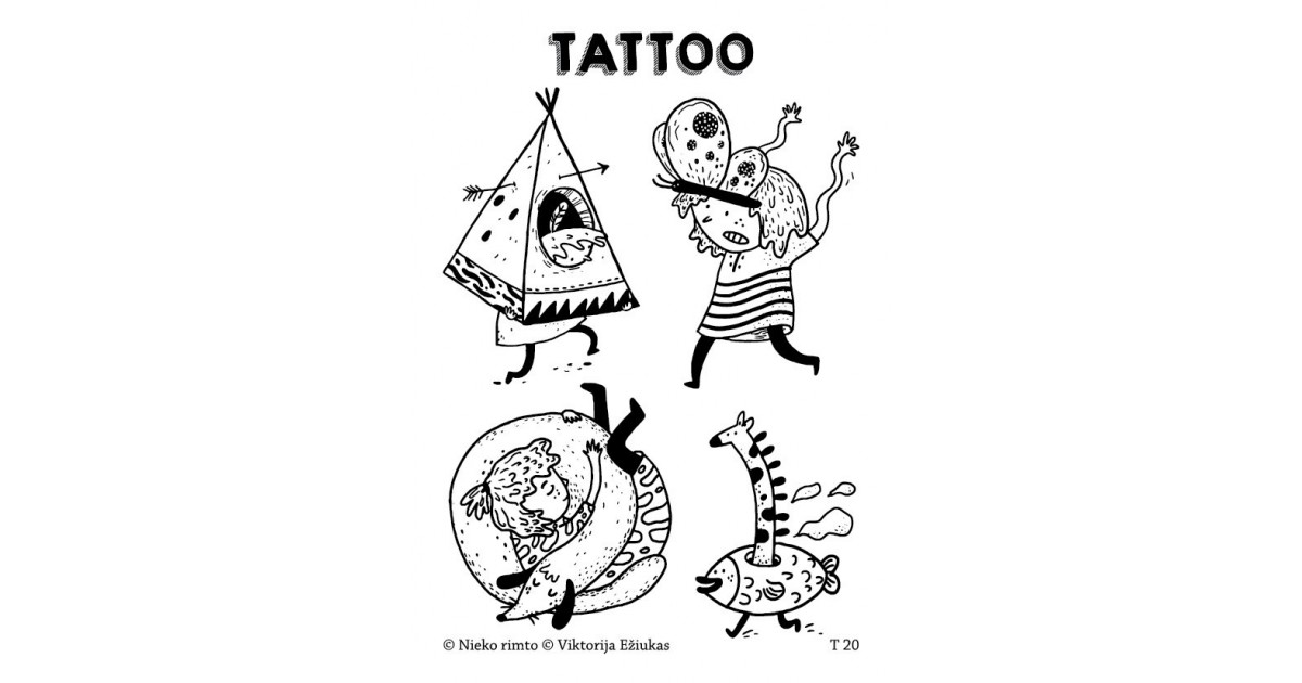 T20. Laikinos tatuiruotės su Viktorijos Ežiuko piešiniais