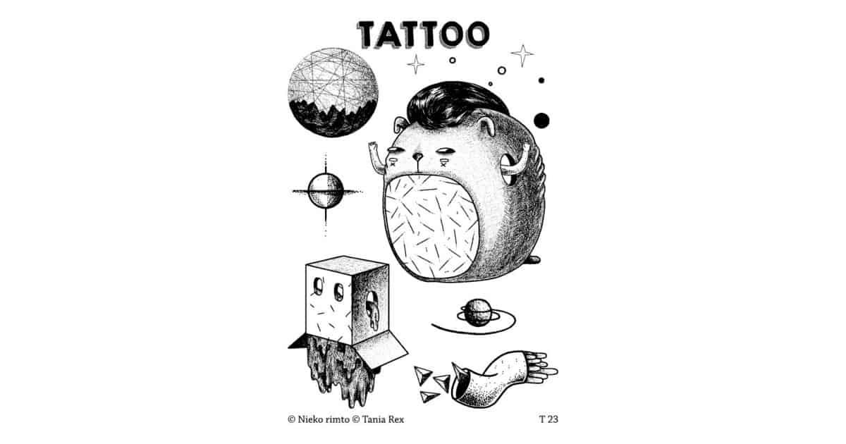 T23. Laikinos tatuiruotės su Tanios Rex piešiniais
