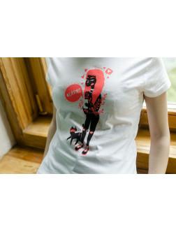 """Marškinėliai merginoms """"Mergina su katinu"""" (S)"""