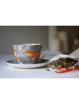 Kapučino kavos puodelis Lapių susitikimas